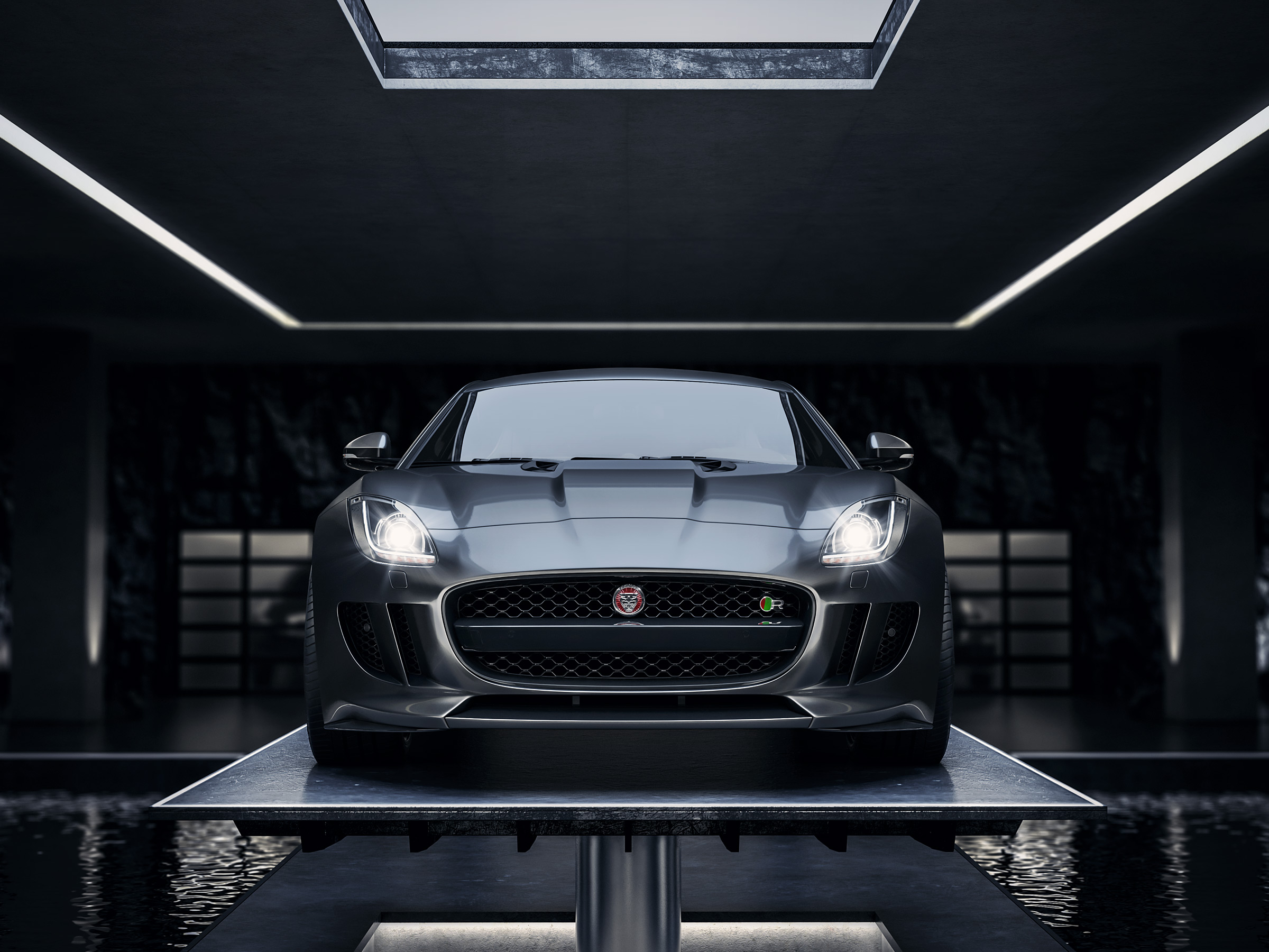 jaguar_ftype_f_type_tank_cgi_retouch_london_post_production_underground_lair_garage_front